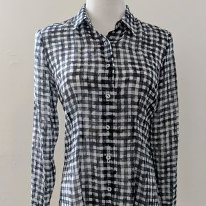 Sheer Theory Watercolor Gingham Button Down